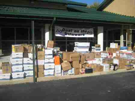 Over 7 tons of books were collected at the Duel on the Delaware 2008
