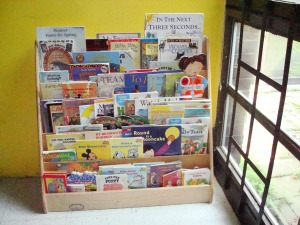 Books for K-2nd grade were placed in several easy to reach librray shelves to encourage the children to read.