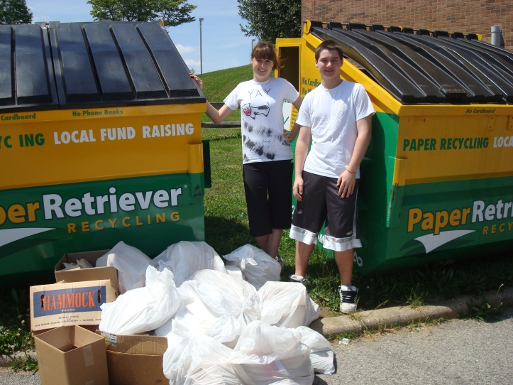 Success Won't Wait Book Recycling Program adds 2,320 lbs. of paper. New total tops 7,000 lbs! Pictured here are program founder Ashley McNeill and younger brother and volunteer Matt McNeill.