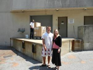Success Won't Wait volunteer Matt McNeill donated over 500 books to the Camden County Library System. Matt is pictured here with Voorhees Librarian Jennifer Druce.
