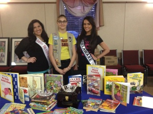 Left to right: Margherita Carrieri-Ruso, Miss Brandywine America, Girl Scout cadet Alyson K. of Troop 969, and Vincenza Carrieri-Russo, Miss Delaware United States.