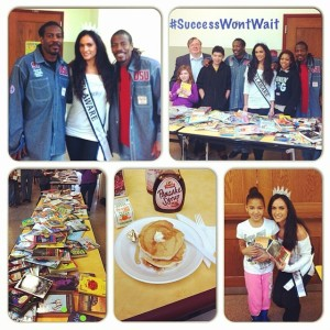 Miss Delaware United States, Vincenza Carrieri-Russo is the co-founder of Success Won't Wait. Pictured here at the Pancakes for Peace March event in Wilmington, Delaware with some of the more than 500 books SWW donated!