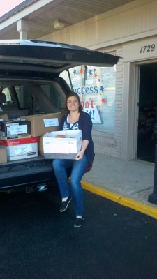 Cristen Zipf, founder of Treasures for Teachers with over 700 children's books donated this week by Success Won't Wait!