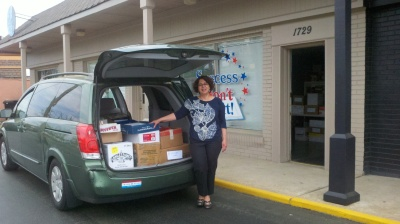 Earlier this week, Friends of the Wilmington Library's representative Neda Green picked up a van load of more than 1,000 books donated by Success Won't Wait.
