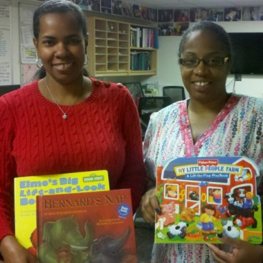 Dr. Cooke and Dee at the Nemours Pediatrics Clinic on Jessup Street, Wilmington with just a few of the 500+ new books for the clinic's patients!