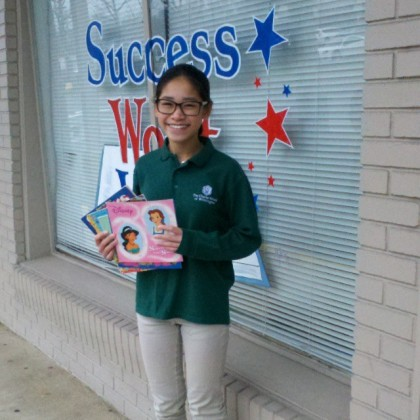 Margaret Tran of Charter School of Wilmington collected over 250 books for Success Won't Wait's literacy programs!