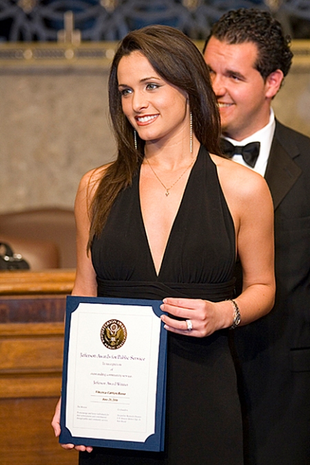 Vincenza Carrieri-Russo receiving a Jefferson Award, and then a one of the top prize awards at the dinner.